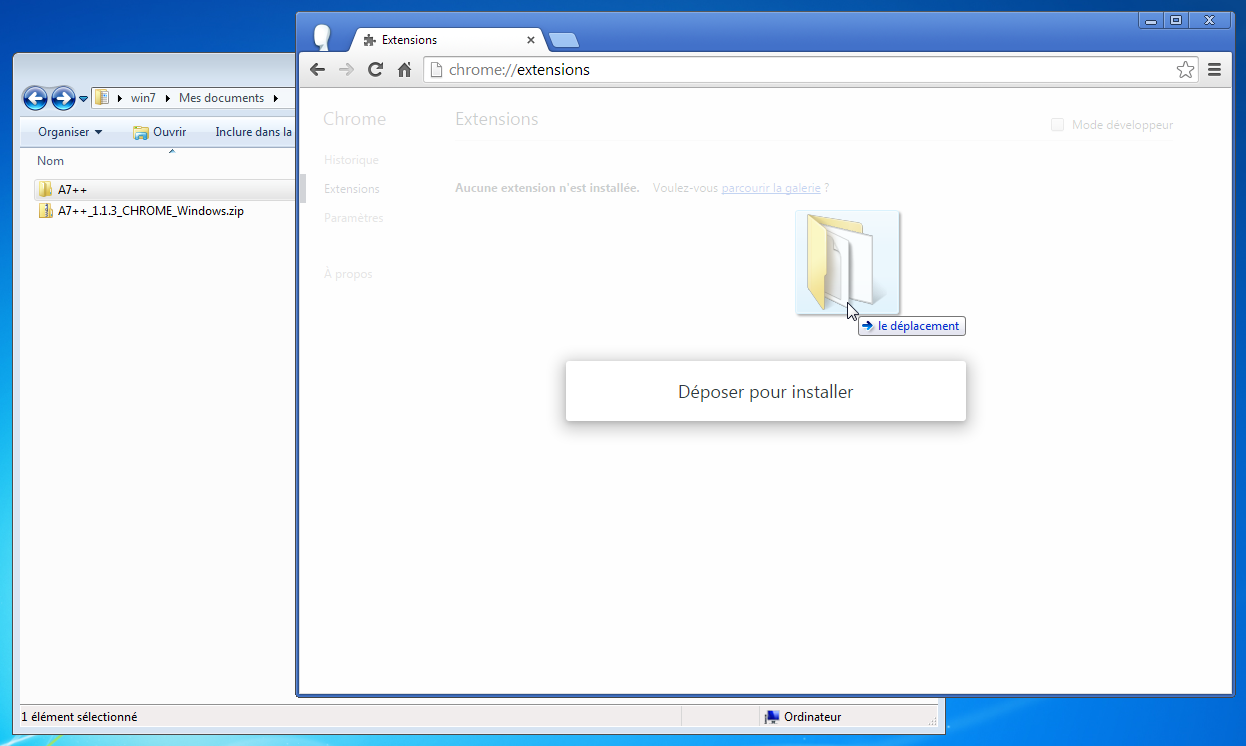 Tutoriel installer l 39 extension a7 pour google chrome for Zip pour fenetre